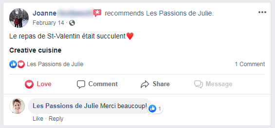 Joanne (nom d'une cliente) donne 5 étoiles aux Passions de Julie, la compagnie de menus santés livrés à domicile.
