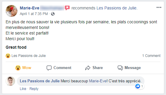 Marie-Eve (nom d'une cliente) donne 5 étoiles aux Passions de Julie, la compagnie de menus santés livrés à domicile.