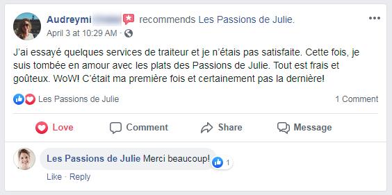Audreymi (nom d'une cliente) donne 5 étoiles aux Passions de Julie, la compagnie de menus santés livrés à domicile.