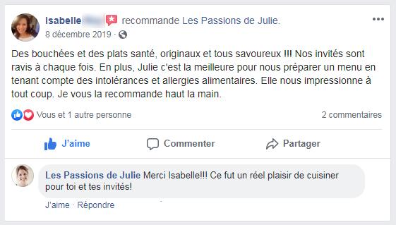 Isabelle (nom d'une cliente) donne 5 étoiles aux Passions de Julie, la compagnie de menus santés livrés à domicile.