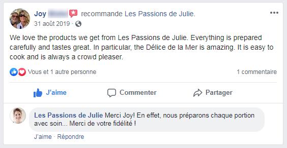 Joy (nom d'une cliente anglophone) donne 5 étoiles aux Passions de Julie, la compagnie de menus santés livrés à domicile.