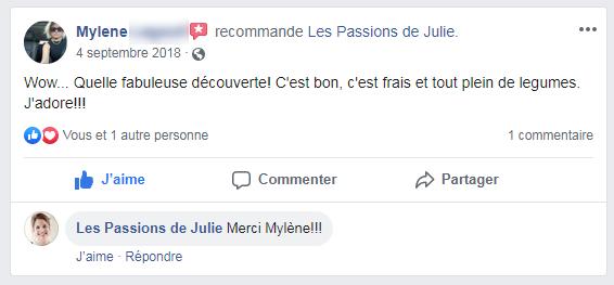 Mylene (nom d'une cliente) donne 5 étoiles aux Passions de Julie, la compagnie de menus santés livrés à domicile.