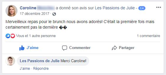 Caroline (nom d'une cliente) donne 5 étoiles aux Passions de Julie, la compagnie de menus santés livrés à domicile.