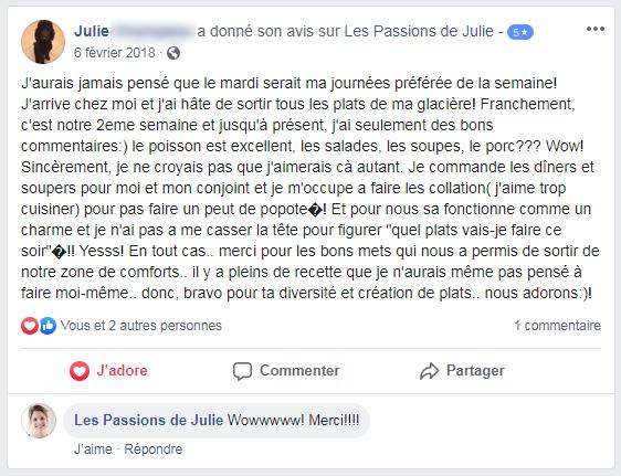 Julie (nom d'une cliente) donne 5 étoiles aux Passions de Julie, la compagnie de menus santés livrés à domicile.