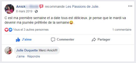 Anick (nom d'une cliente) donne 5 étoiles aux Passions de Julie, la compagnie de menus santés livrés à domicile.