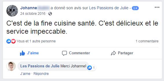 Johanne (nom d'une cliente) donne 5 étoiles aux Passions de Julie, la compagnie de menus santés livrés à domicile.