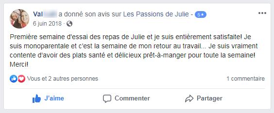 Val (nom d'une cliente) donne 5 étoiles aux Passions de Julie, la compagnie de menus santés livrés à domicile.