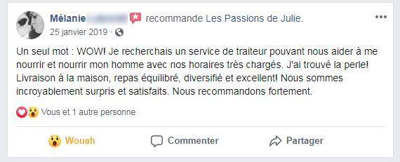 Mélanie (nom d'une cliente) donne 5 étoiles aux Passions de Julie, la compagnie de menus santés livrés à domicile.