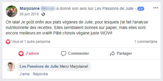 Marjolaine (nom d'une cliente) donne 5 étoiles aux Passions de Julie, la compagnie de menus santés livrés à domicile.