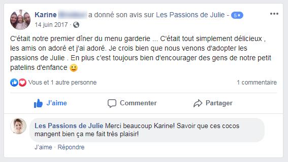 Karine (nom d'une cliente) donne 5 étoiles aux Passions de Julie, la compagnie de menus santés livrés à domicile.