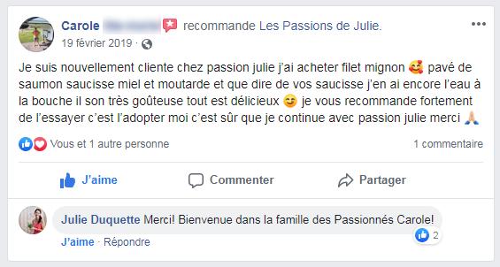 Carole (nom d'une cliente) donne 5 étoiles aux Passions de Julie, la compagnie de menus santés livrés à domicile.